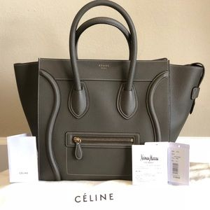 CÉLINE luggage mini tote light gray with receipt